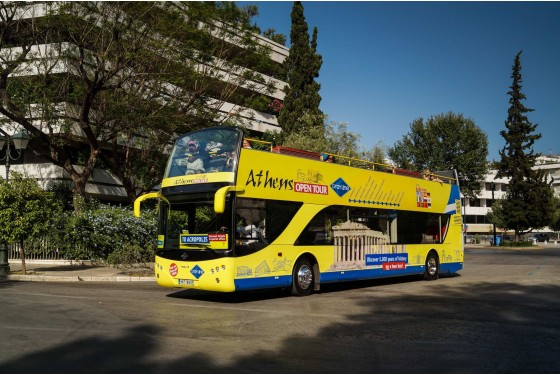Athens Open Tours Hop-on-Hop-off with panoramic view of the city