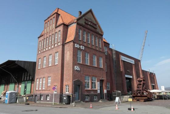 Exterior view of the harbor museum in Hamburg