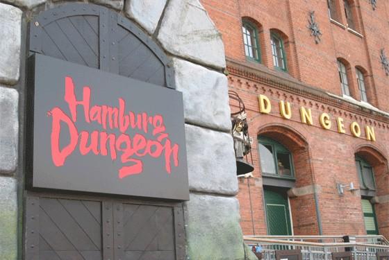 Hamburg Dungeon entrance in the Speicherstadt of Hamburg