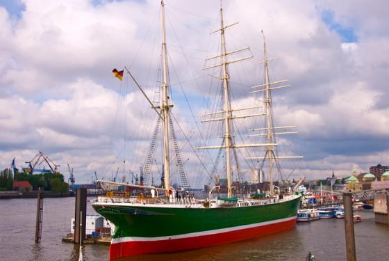 Museum ship Rickmer Rickmers in the port of Hamburg
