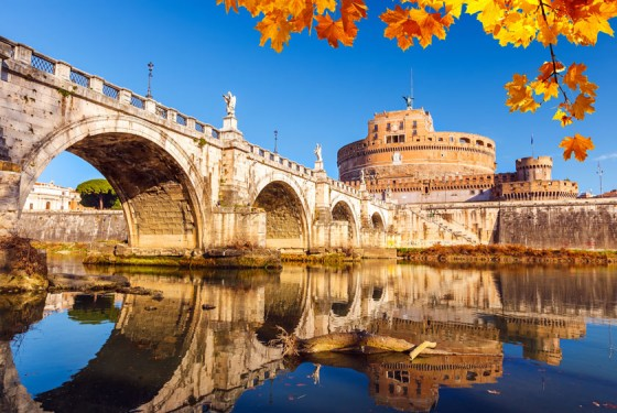 Castel Sant'Angelo with bridge over the river tiber in Rome
