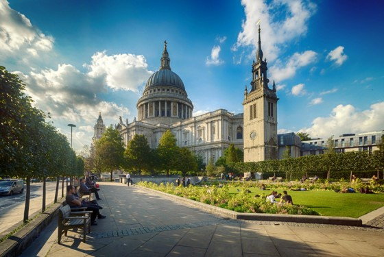 Exterior view of St Pauls Cathedral in London during good weather