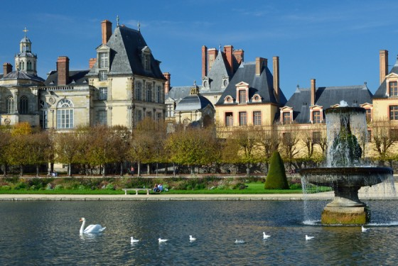 View from the water to the Chateau de Fontainebleau in Paris