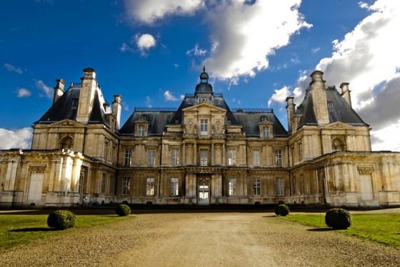 Front view of the Chateau de Maisons Laffitte in Paris