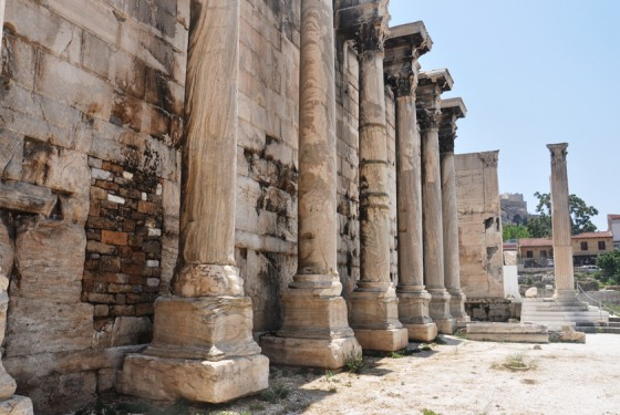Exterior view of the Hadrian Library in Athen