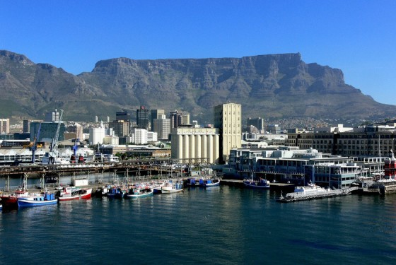 View of the Table Mountain from the water