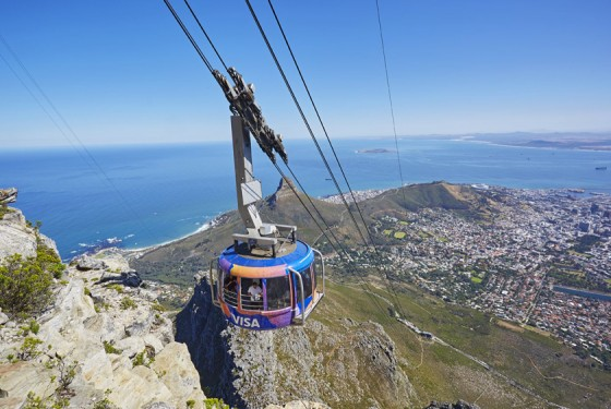 Table Mountain Cable car on the way up