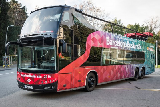 Hop-on-hop-off bus tour with a doubledecker bus in Barcelona