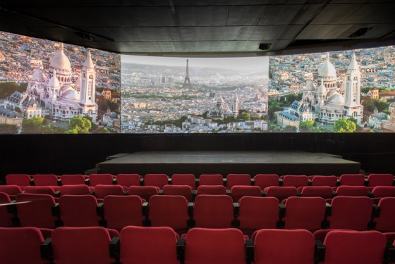 Three screens in the cinema Paris Story in paris