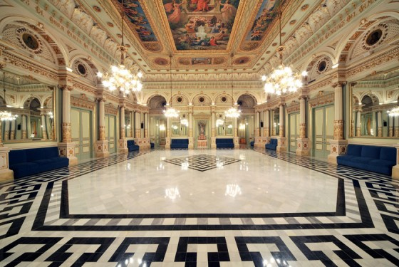 Hall inside the famous opera Gran Teatre del Liceu in Barcelona