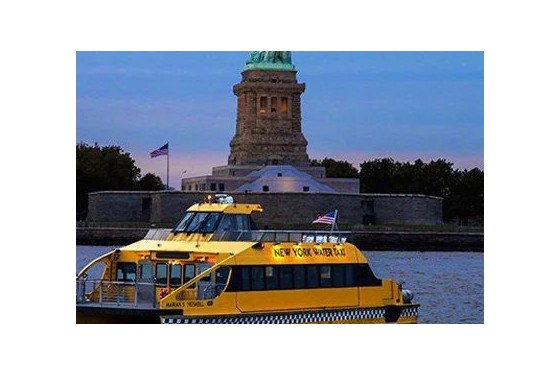 New York Water Taxi Statue of Liberty by Night