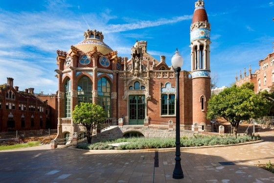Outside view of the Sant Pau Recinte Modernista in Barcelona